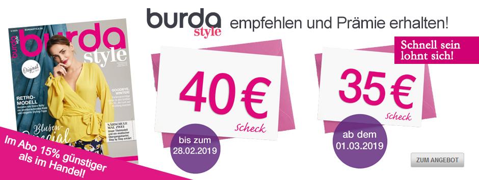 burda style empfehlen und Prämie erhalten Februar 2019