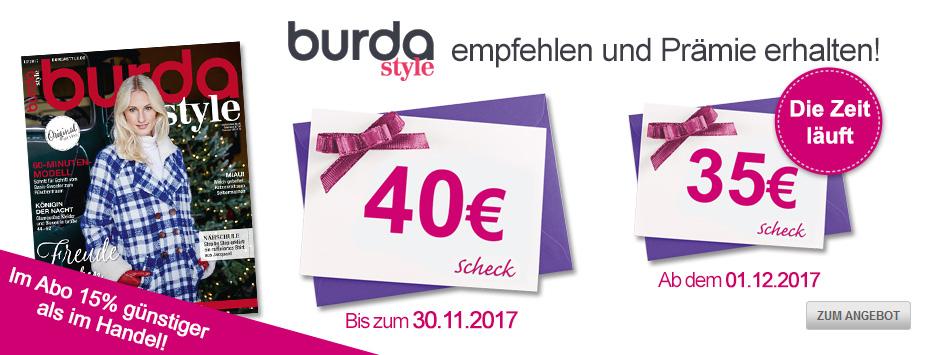 burda style empfehlen und bis zu 40 Euro sichern!
