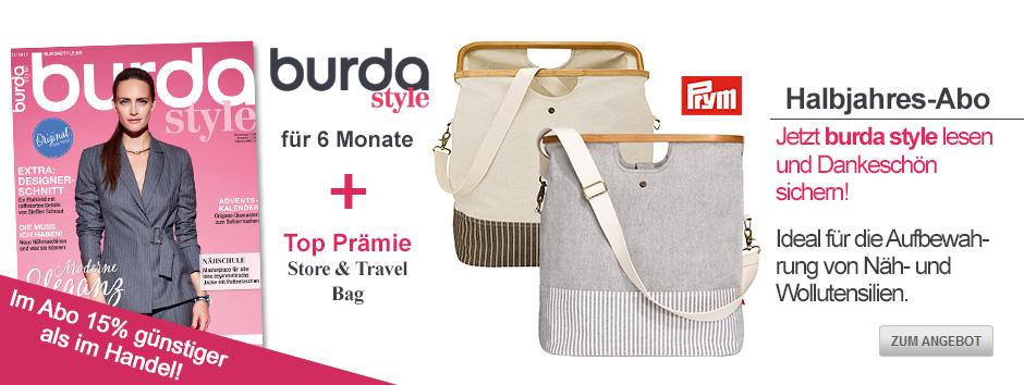 Sichern Sie sich jetzt burda style für 6 Monate + Prym Store & Travel Bag