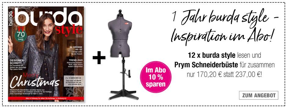 burda style - 12 Ausgaben + Prym Schneiderbüste