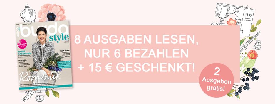 burda style - 8 Ausgaben lesen, 6 bezahlen + 15 € geschenkt - April 2021