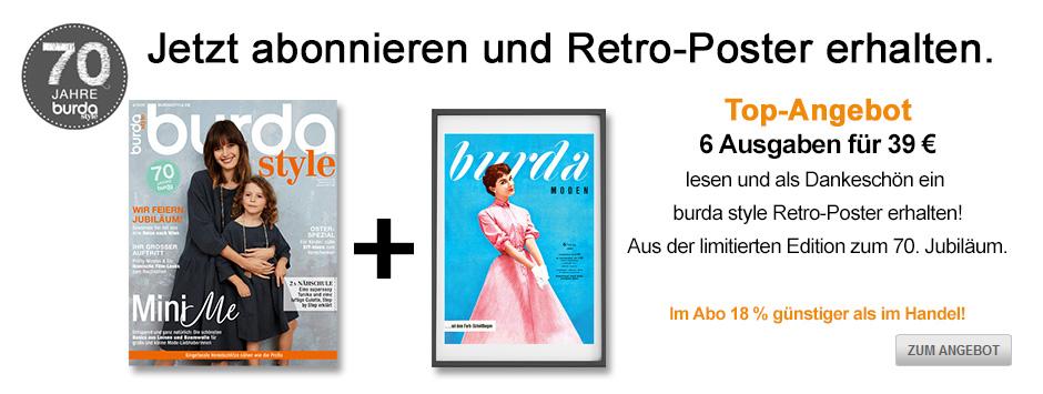burda style 6 Ausgaben + Retro Poster - März 2020