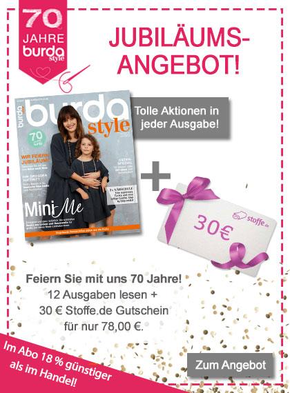 burda style Jubiläum Jahresabo + 30 € Stoffe.de Gutschein