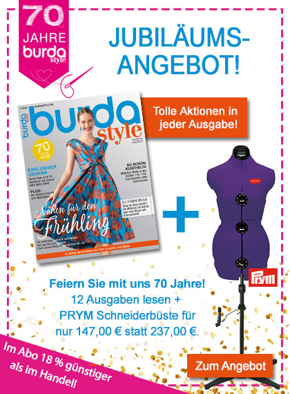 burda style Jubiläum Jahresabo + Schneiderbürste