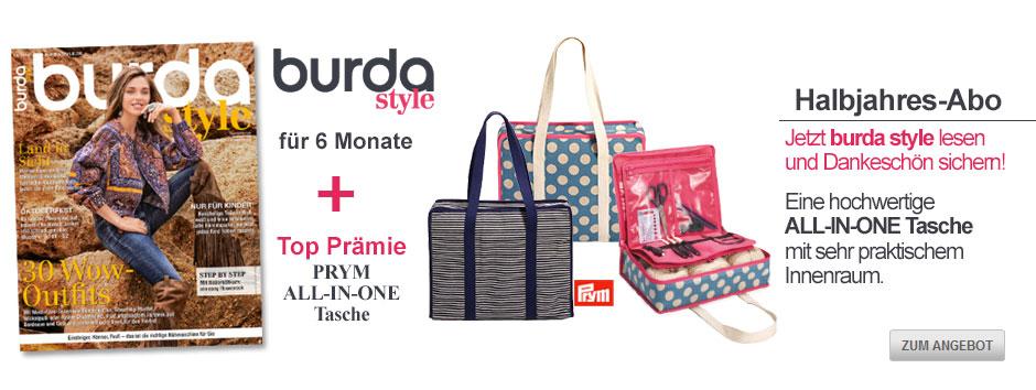 Sichern Sie sich jetzt burda style für 6 Monate + Prym ALL-IN-ONE-Tasche